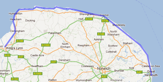 Route from King's Lynn to Great Yarmouth