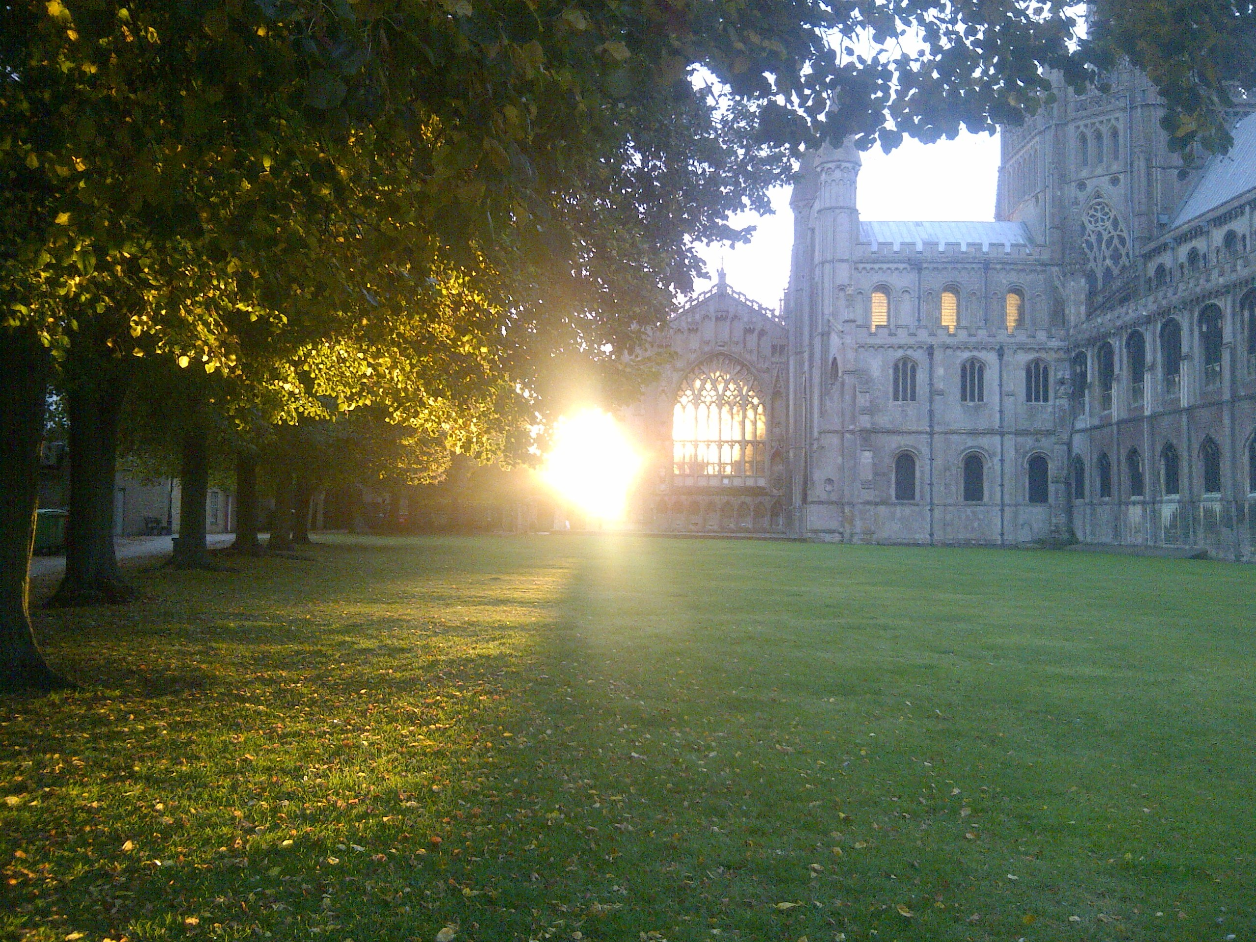 Ely cathedral with the sun rising