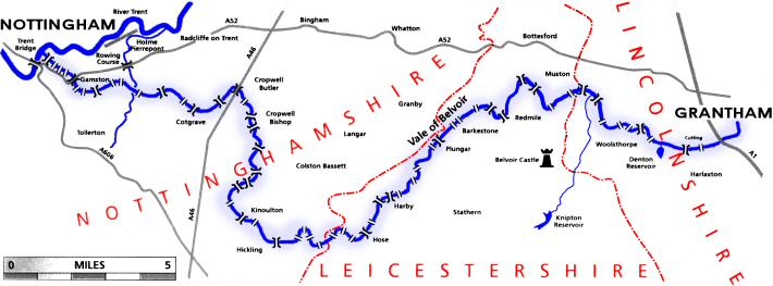 Map of the route of the Grantham Canal