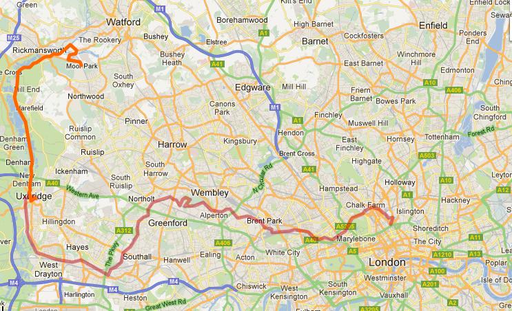 Map of the route - Uxbridge to Moor Park