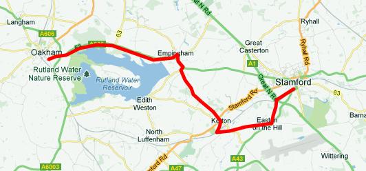 Stamford to Oakham via Rutland Water
