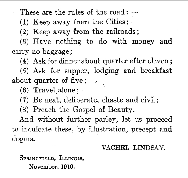 Vachel Lindsay's 'Rules of the Road