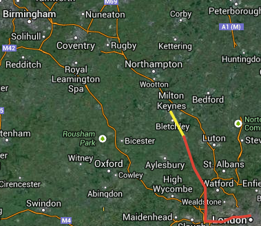 Map - Almost half way to Brum!