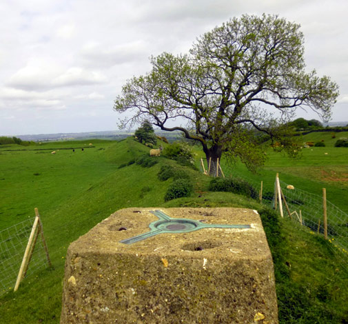Trig point on Burrough Hill
